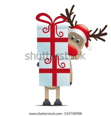 reindeer hold gift boxes with red ribbon - stock photo