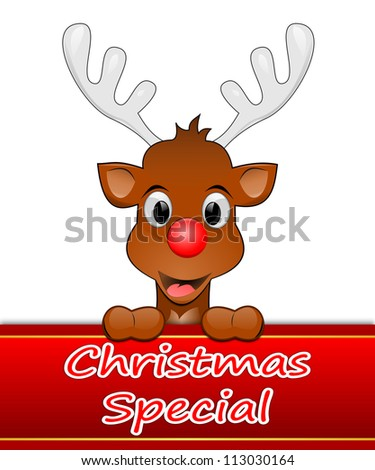 Reindeer presenting Christmas special - stock photo