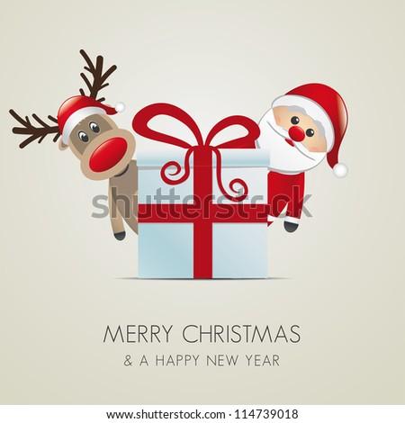 reindeer santa claus christmas gift box red - stock photo