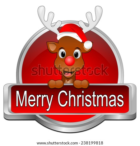 Reindeer wishing Merry Christmas Button - stock photo