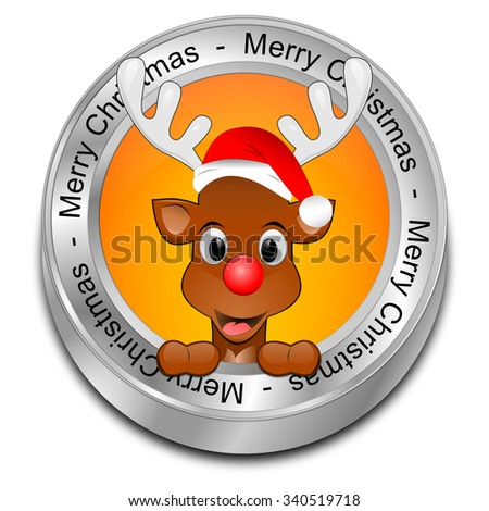 Reindeer wishing Merry Christmas Button - stock photo