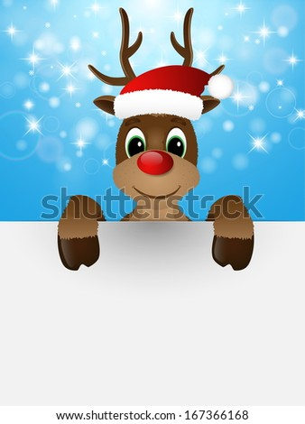 Reindeer with red nose and Santa hat. Illustration.  - stock photo