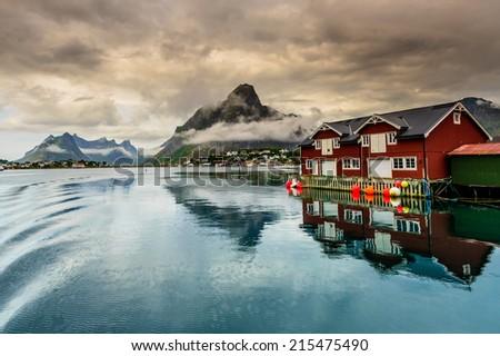 Reine fishing village after rain storm, Lofoten Islands - stock photo