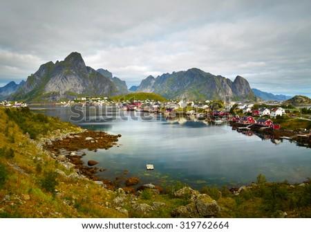 Reine fishing village.  Lofoten Islands, Norway - stock photo