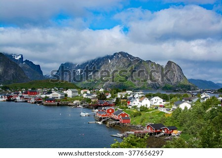 Reine is a small fishing village at the Lofoten, Norway.