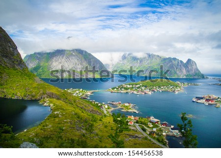 Reine on the Lofoten islands from above.