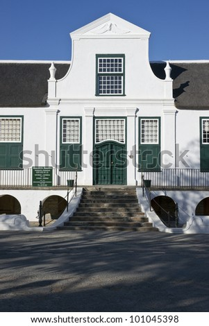 Reinet House in Graaff-Reinet, Eastern Cape, South Africa  Historic building, built circa 1812 in classical Cape style  Now a museum - stock photo