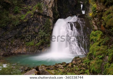 Reinfall in Dolomites, Alps - stock photo