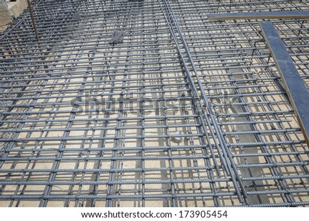 reinforce iron cage in a construction site