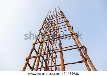 reinforce iron rack in a construction site under blue sky