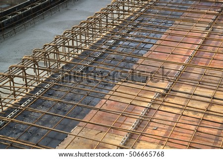Reinforced concrete engineering construction with rebar and formwork
