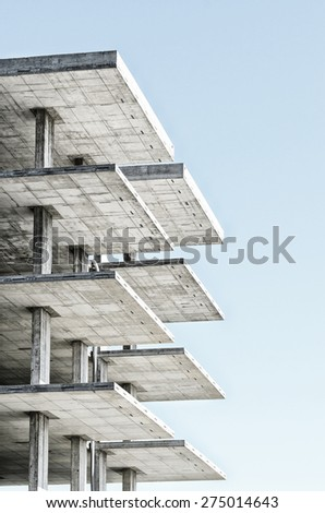 reinforced concrete structure with blue sky