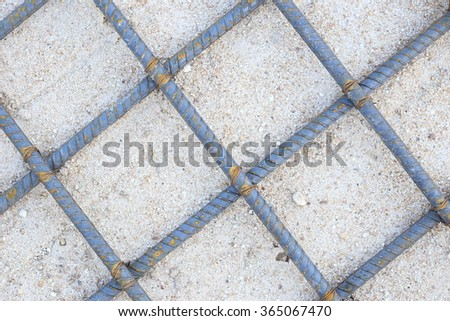 Reinforcement beam for concrete foundation, laid on ground. - stock photo