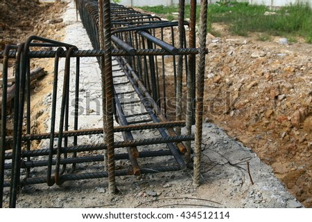 Reinforcement steel bars for ground beam concrete  at construction site in thailand