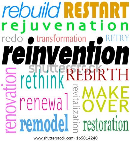 Reinvention Word Redo Restart Rebuild Background - stock photo