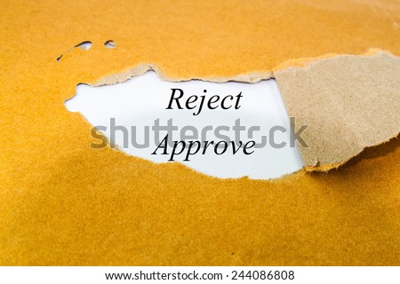 reject approve text concept on brown envelope  - stock photo
