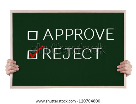 reject selected on blackboard with hands - stock photo