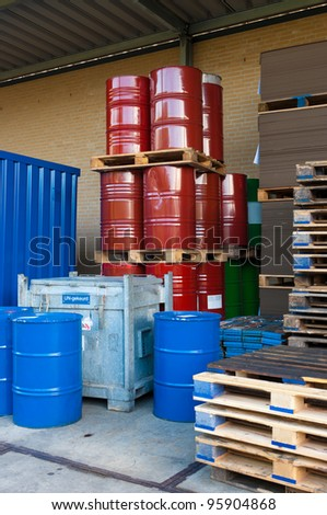 rejected oil drums on storage place - stock photo