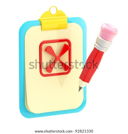 Rejection: paper folder clipboard  and pencil with a no sign isolated on white