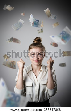 Rejoicing. Young slim woman and falling Euro banknotes. Success, currency and lottery concept.