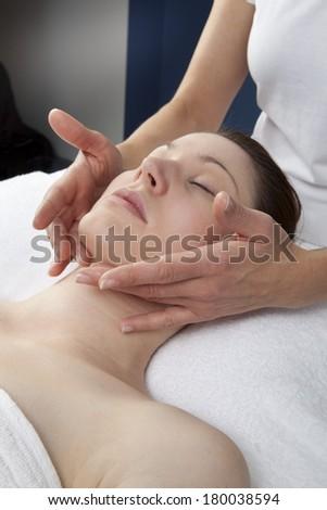 rejuvenation technique at the beauty salon - stock photo