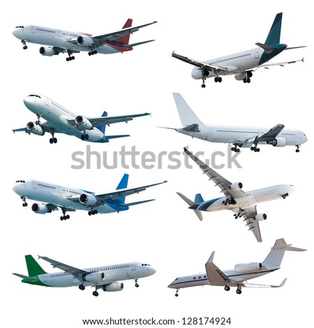 Rel jet planes set, isolated on white background - stock photo