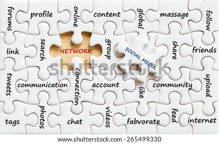 Related social media words on jigsaw puzzle background, business, digital marketing concept - stock photo