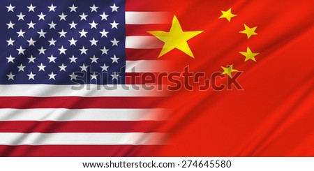 Relations between countries. USA and China.  - stock photo