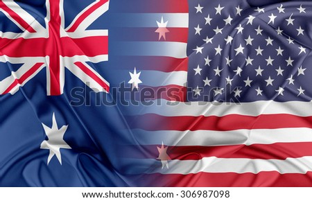 Relations between two countries. USA and Australia - stock photo