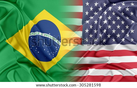 Relations between two countries. USA and Brazil - stock photo