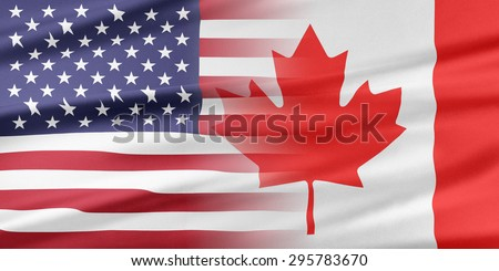 Relations between two countries. USA and Canada. - stock photo