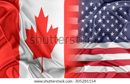 Relations between two countries. USA and Canada - stock photo