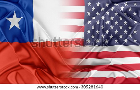 Relations between two countries. USA and Chile - stock photo