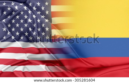 Relations between two countries. USA and Colombia - stock photo