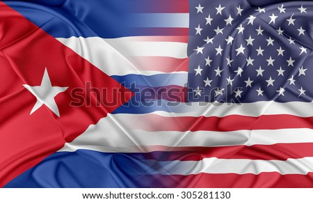 Relations between two countries. USA and Cuba - stock photo