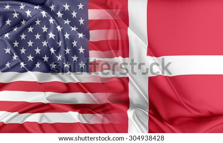 Relations between two countries. USA and Denmark - stock photo