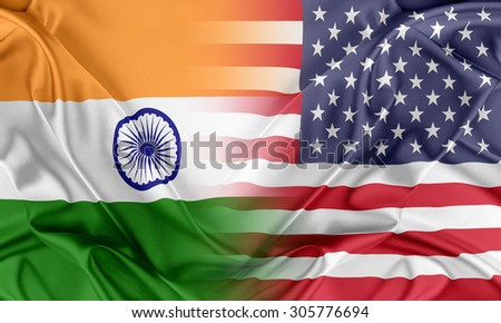 Relations between two countries. USA and India - stock photo