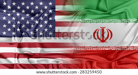 Relations between two countries. USA and Iran - stock photo