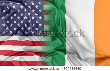 Relations between two countries. USA and Ireland - stock photo