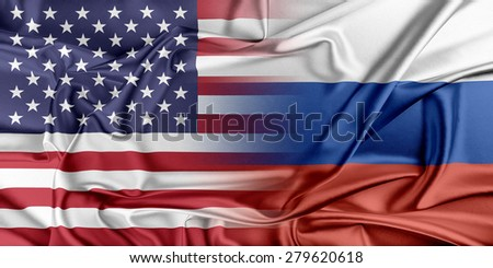 Relations between two countries. USA and Russia. - stock photo