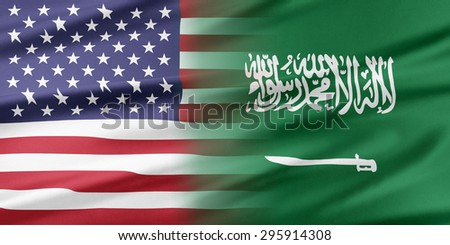 Relations between two countries. USA and Saudi Arabia. - stock photo
