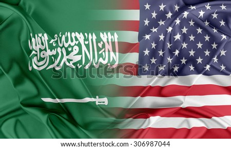 Relations between two countries. USA and Saudi Arabia - stock photo
