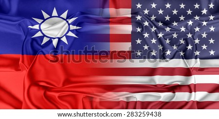 Relations between two countries. USA and Taiwan - stock photo