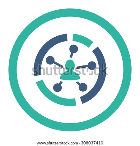 Relations diagram glyph icon. This rounded flat symbol is drawn with cobalt and cyan colors on a white background. - stock photo