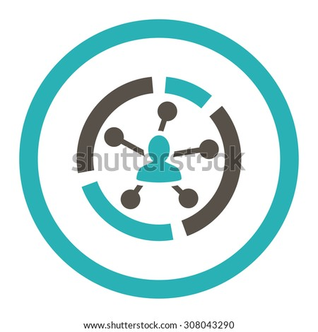 Relations diagram glyph icon. This rounded flat symbol is drawn with grey and cyan colors on a white background. - stock photo