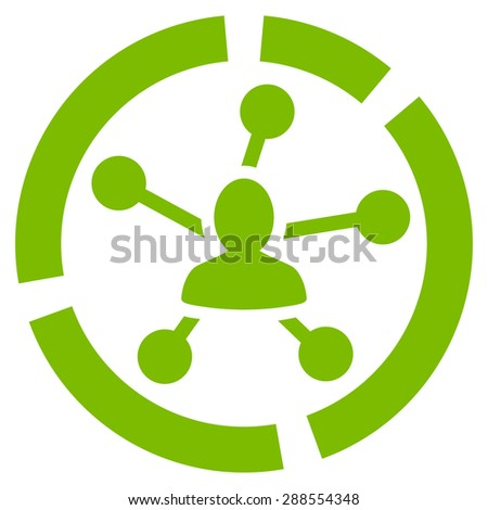 Relations diagram icon from Business Bicolor Set. Glyph style: flat symbol, eco green color, rounded angles, white background. - stock photo