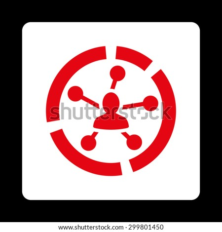 Relations diagram icon. Glyph style is red and white colors, flat rounded square button on a black background. - stock photo