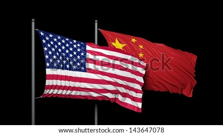 Relationship between United states of America and china - stock photo