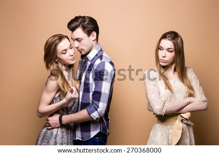 relationship., breakup, jealousy, love triangle, love - stock photo