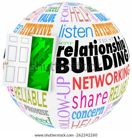 Relationship Building words on a ball or sphere to illustrate networking and meeting new people in job, career, life or organizations - stock photo